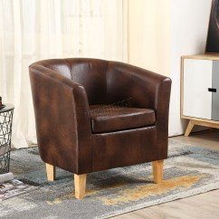 Tub Chair Brown Leather Recliners Chairs Foxhunter Vintage Faux Armchair