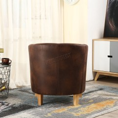 Tub Chair Brown Leather Swivel Glider Chairs Foxhunter Vintage Faux Armchair