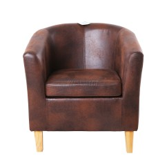 Leather Tub Chair Wheelchair For Patients Foxhunter Vintage Brown Faux Armchair