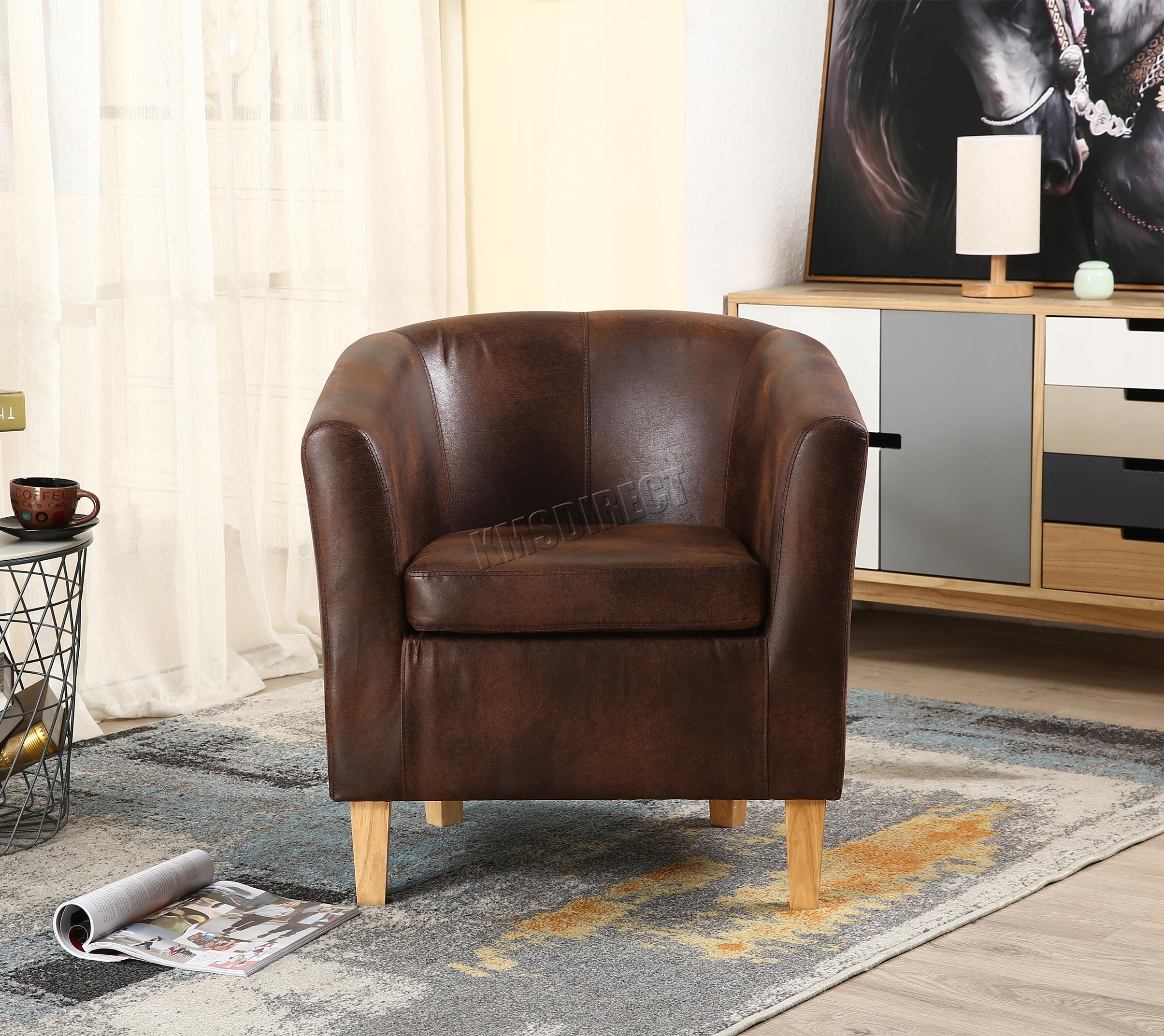 tub chair brown leather pink westwood vintage faux armchair