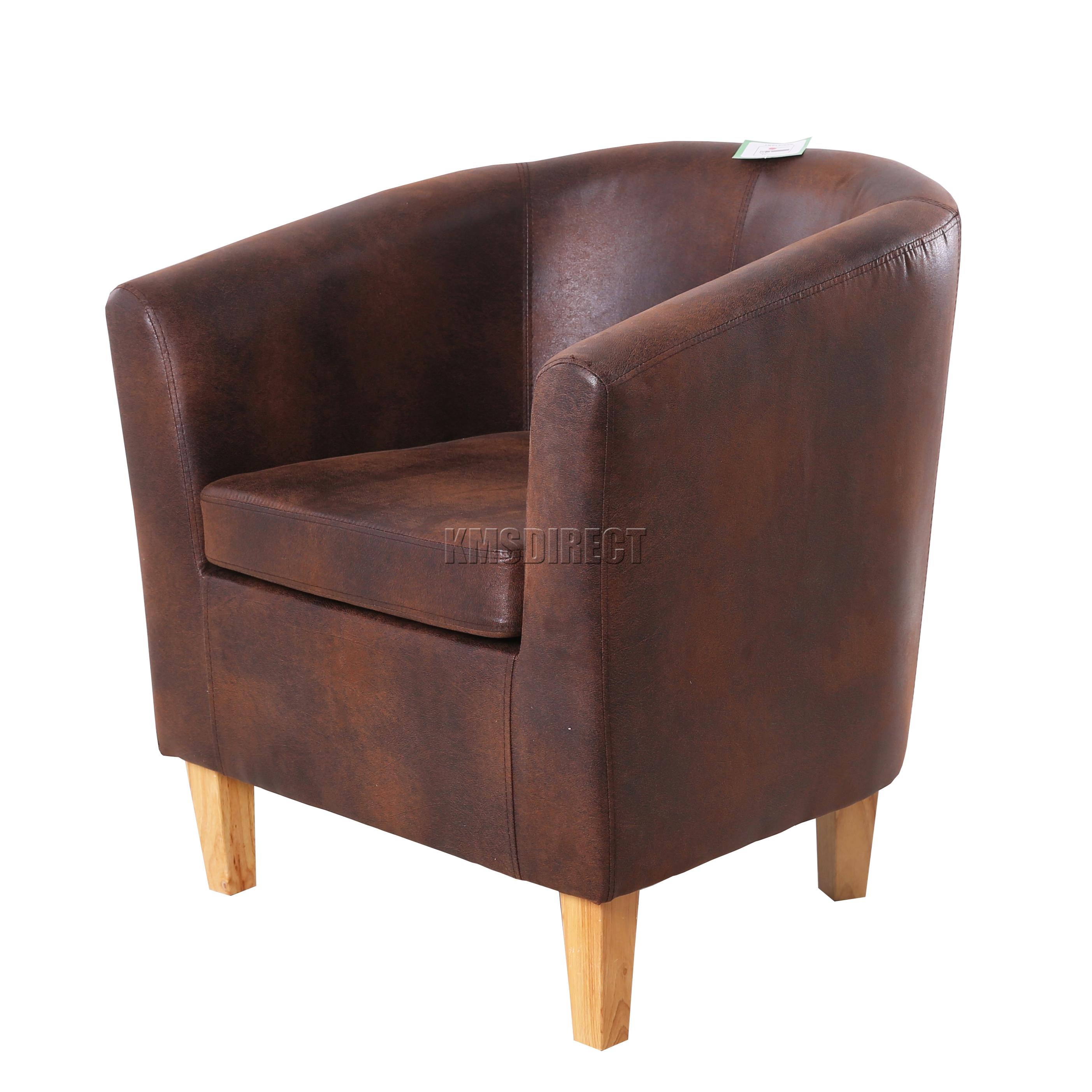 tub chair brown leather revolving repair in ahmedabad foxhunter vintage faux armchair