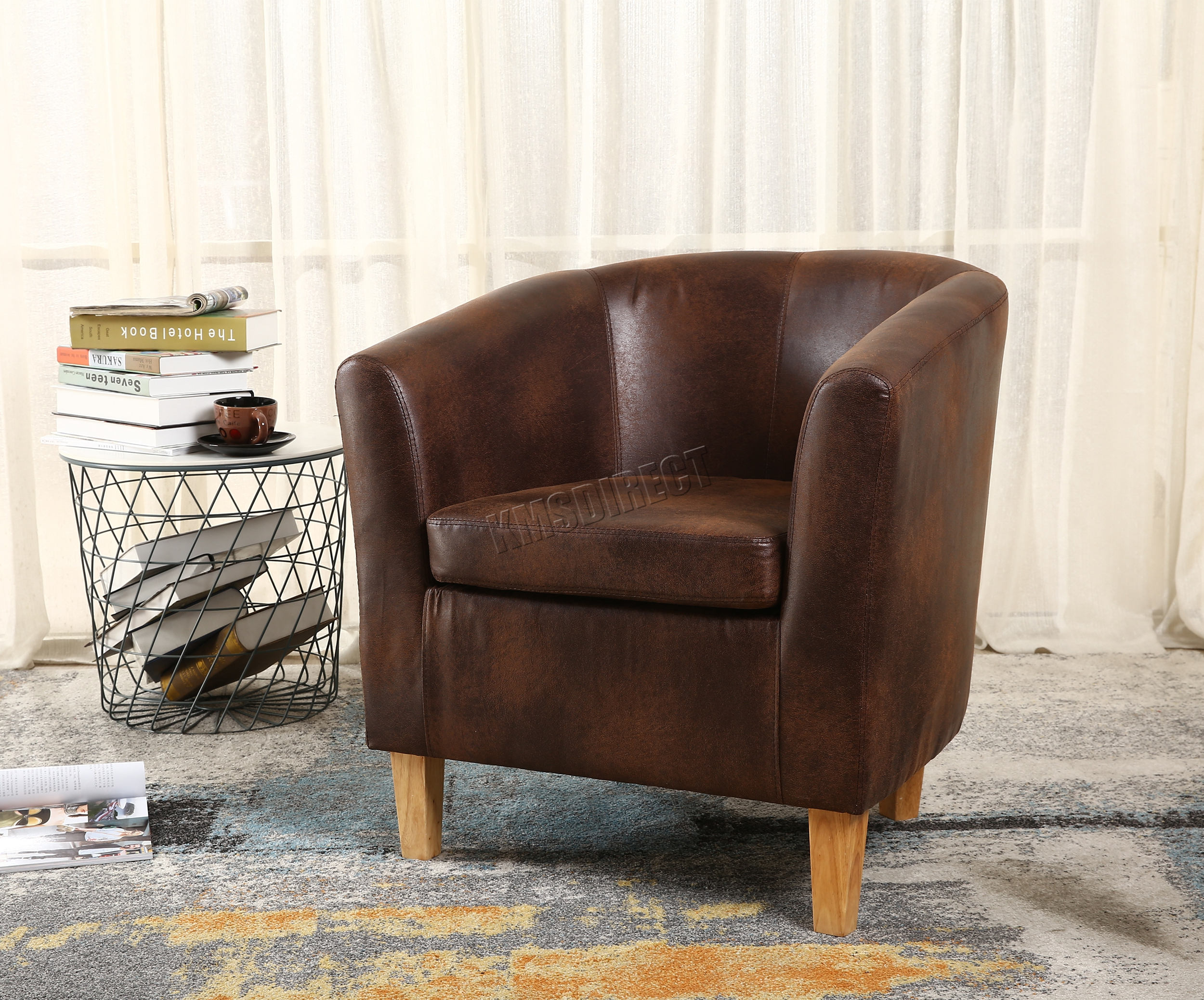 tub chair covers ebay mid century modern lounge and ottoman foxhunter armchair faux leather dining room