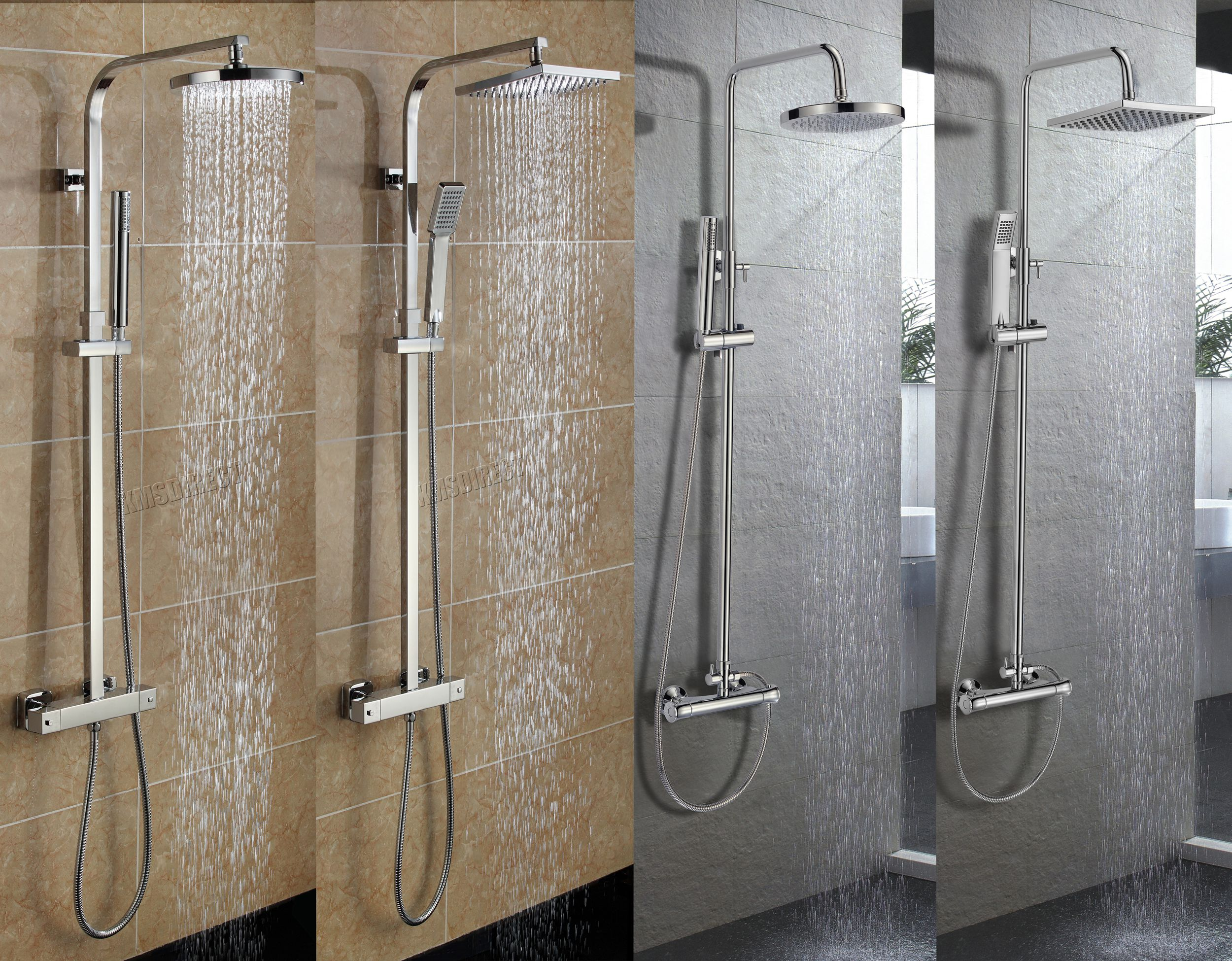 Bathroom Shower Sets Details About Foxhunter Bathroom Mixer Shower Set Twin Head Round Square Chrome Thermostatic