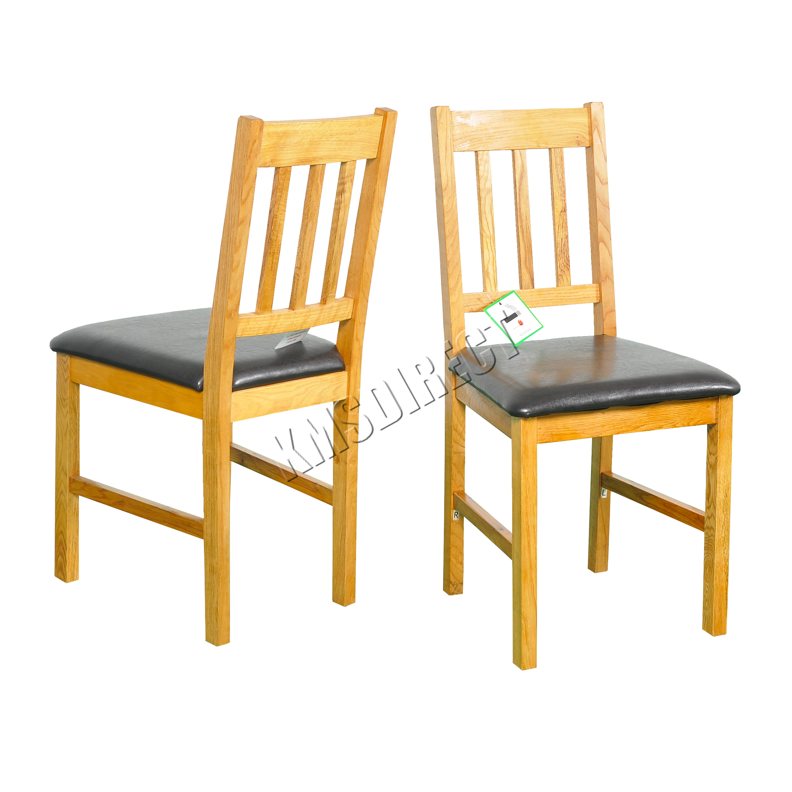 Unfinished Wood Dining Chairs Foxhunter 2x Solid Wooden Oak Dining Chair Set With Pu