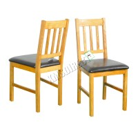 FoxHunter 2X Solid Wooden Oak Dining Chair Set With PU ...