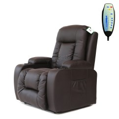 Massage Chair With Heat Folding Yoga Faux Leather Rise Recliner Mobility Tilt Lift Arm