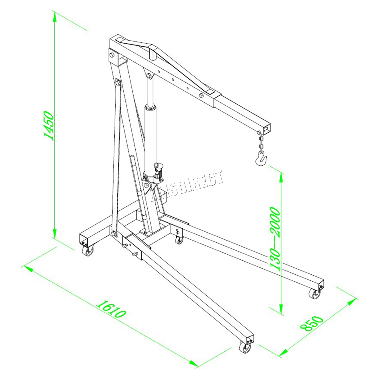 hight resolution of sentinel foxhunter 1 ton hydraulic folding engine crane hoist lift jack sx0103 2 black