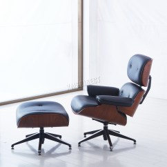 Black Leather Club Chair And Ottoman Jens Risom Lounge Foxhunter Luxury Genuine