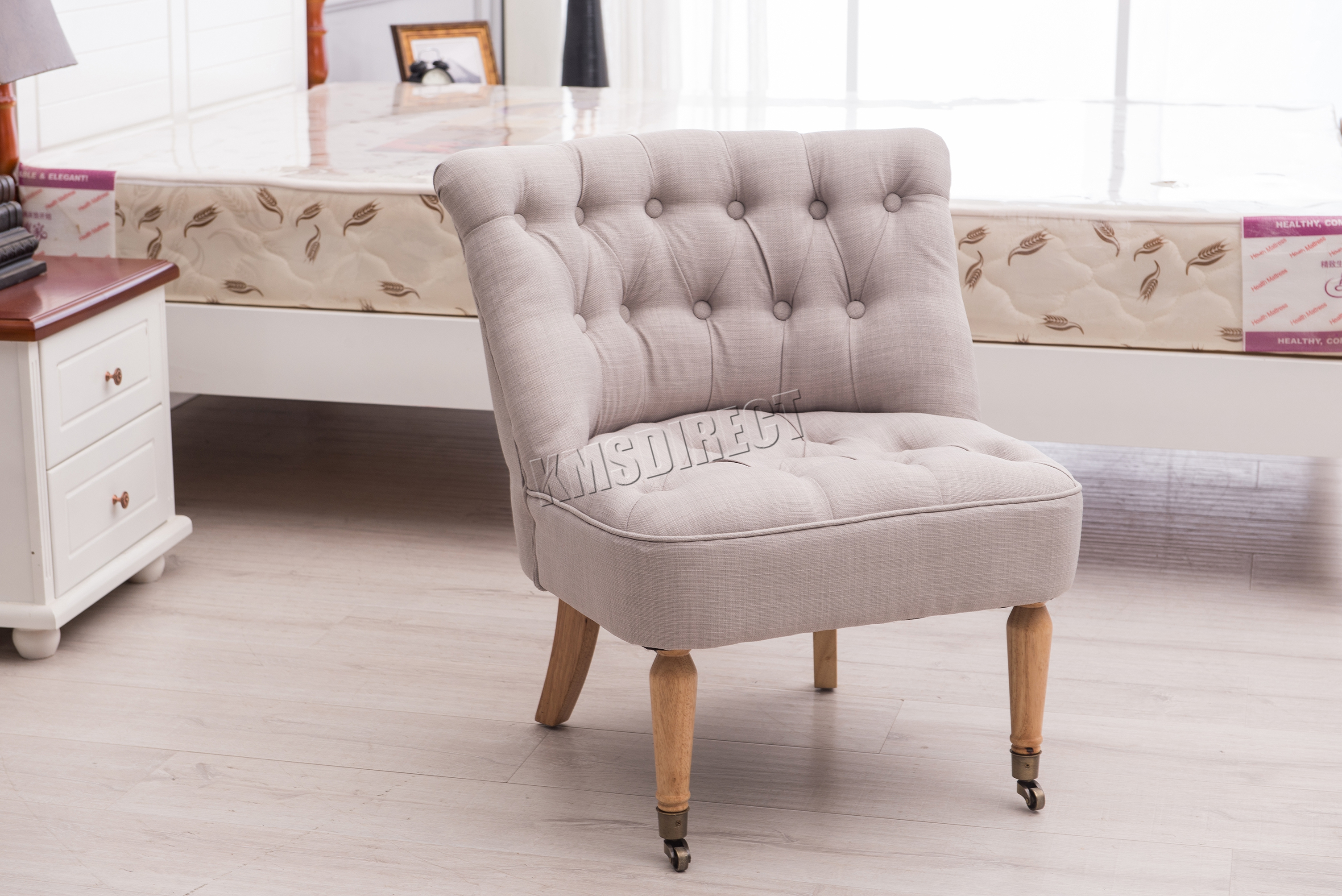 grey bedroom chair uk cost to rent chairs for wedding foxhunter linen fabric accent occasional button