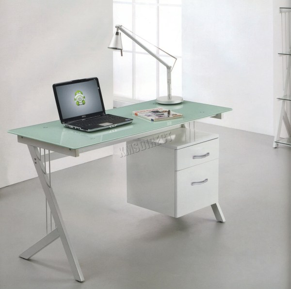 White Computer Desk with Glass Top
