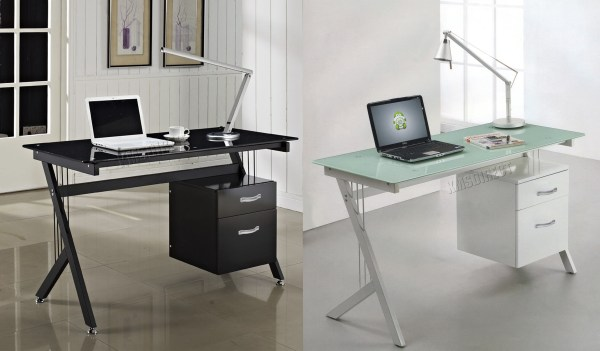 Foxhunter Computer Desk Pc Table With Glass Top 2 Drawers