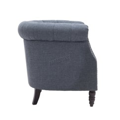 Tub Chair Grey That Unfolds Into A Bed Foxhunter Linen Fabric Armchair Dining Living