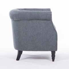 Tub Chair Grey Rope Bottom Westwood Linen Fabric Armchair Dining Living
