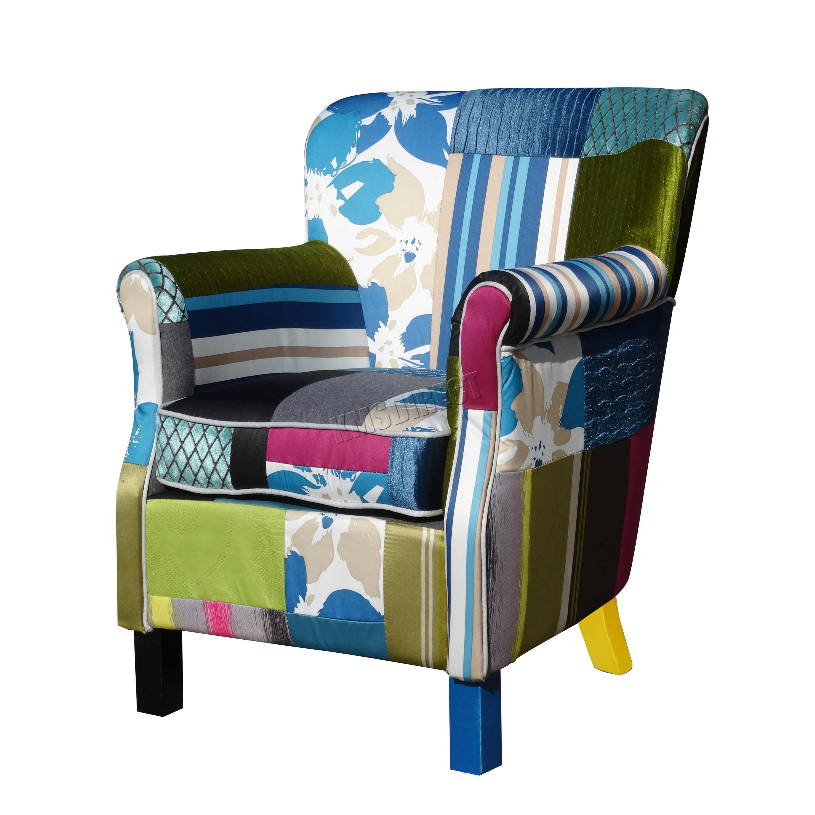 vintage bedroom chair ebay cheap covers for party foxhunter patchwork fabric armchair seat