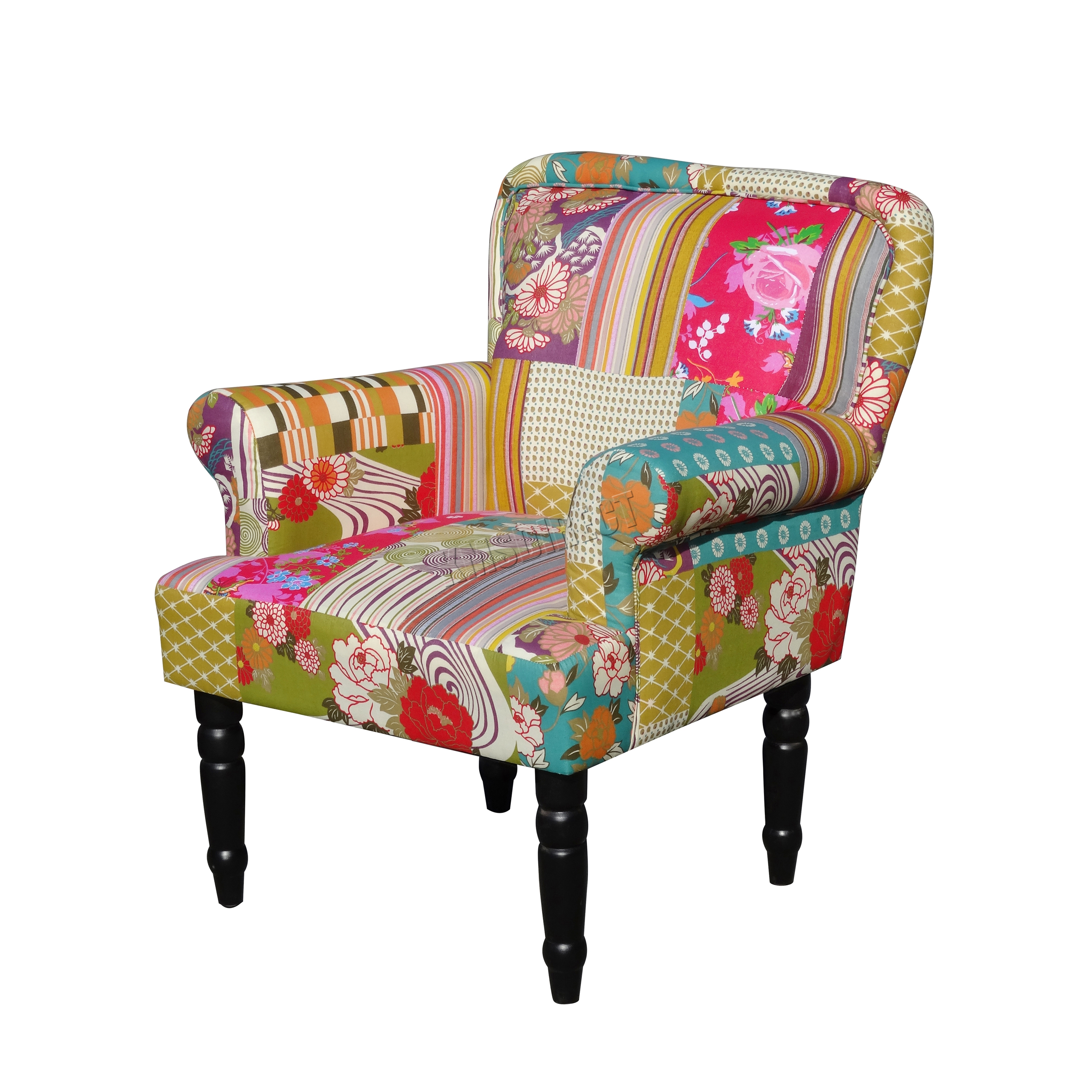 bedroom chair on ebay loll designs adirondack foxhunter patchwork fabric vintage armchair seat