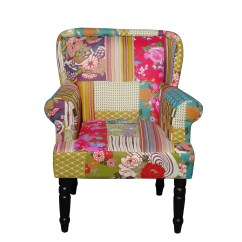 Vintage Bedroom Chair Ebay Dining Table With Green Chairs Foxhunter Patchwork Fabric Armchair Seat