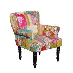 Vintage Bedroom Chair Ebay Kid Recliner Foxhunter Patchwork Fabric Armchair Seat