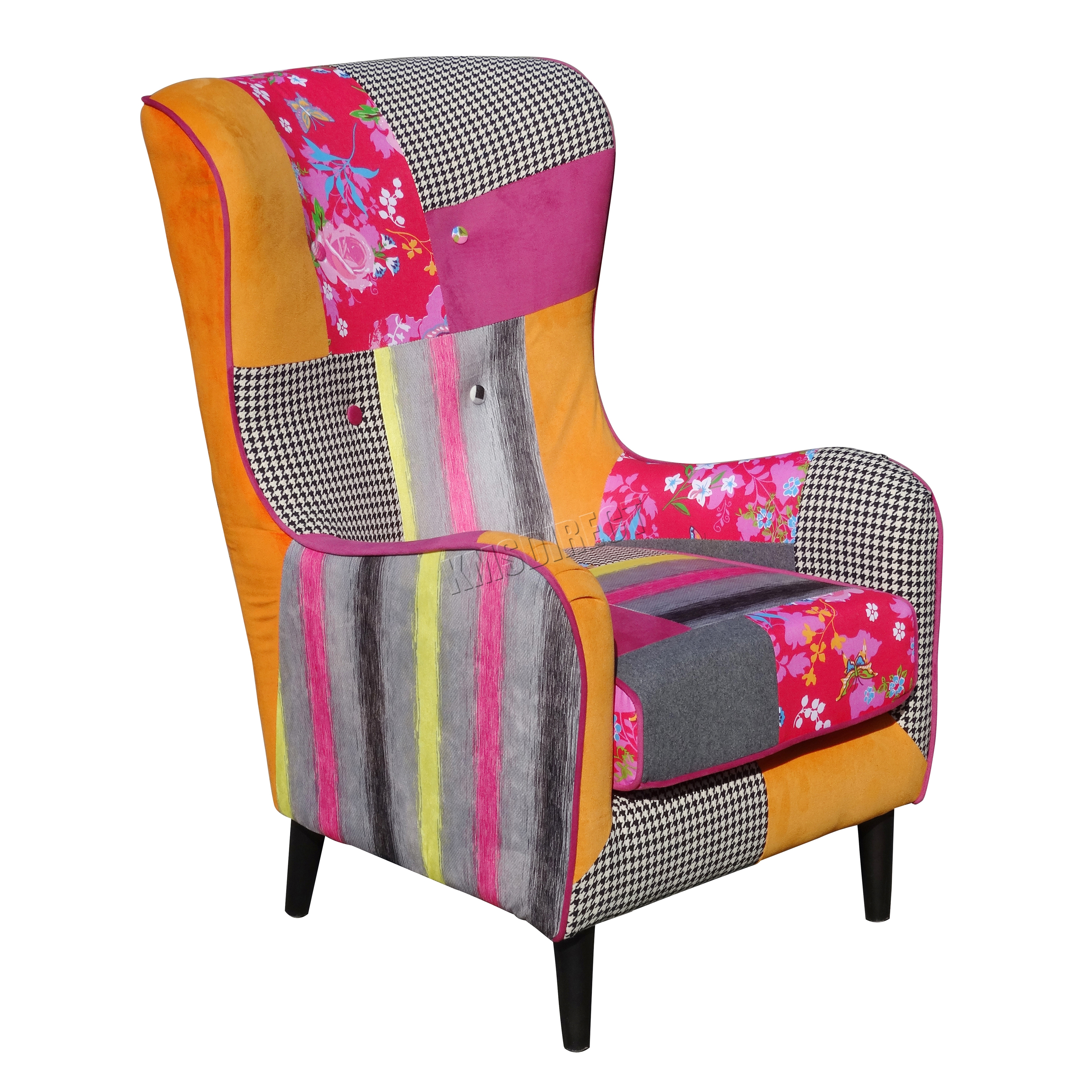tub fabric accent chair patchwork youth wheelchair foxhunter vintage armchair seat