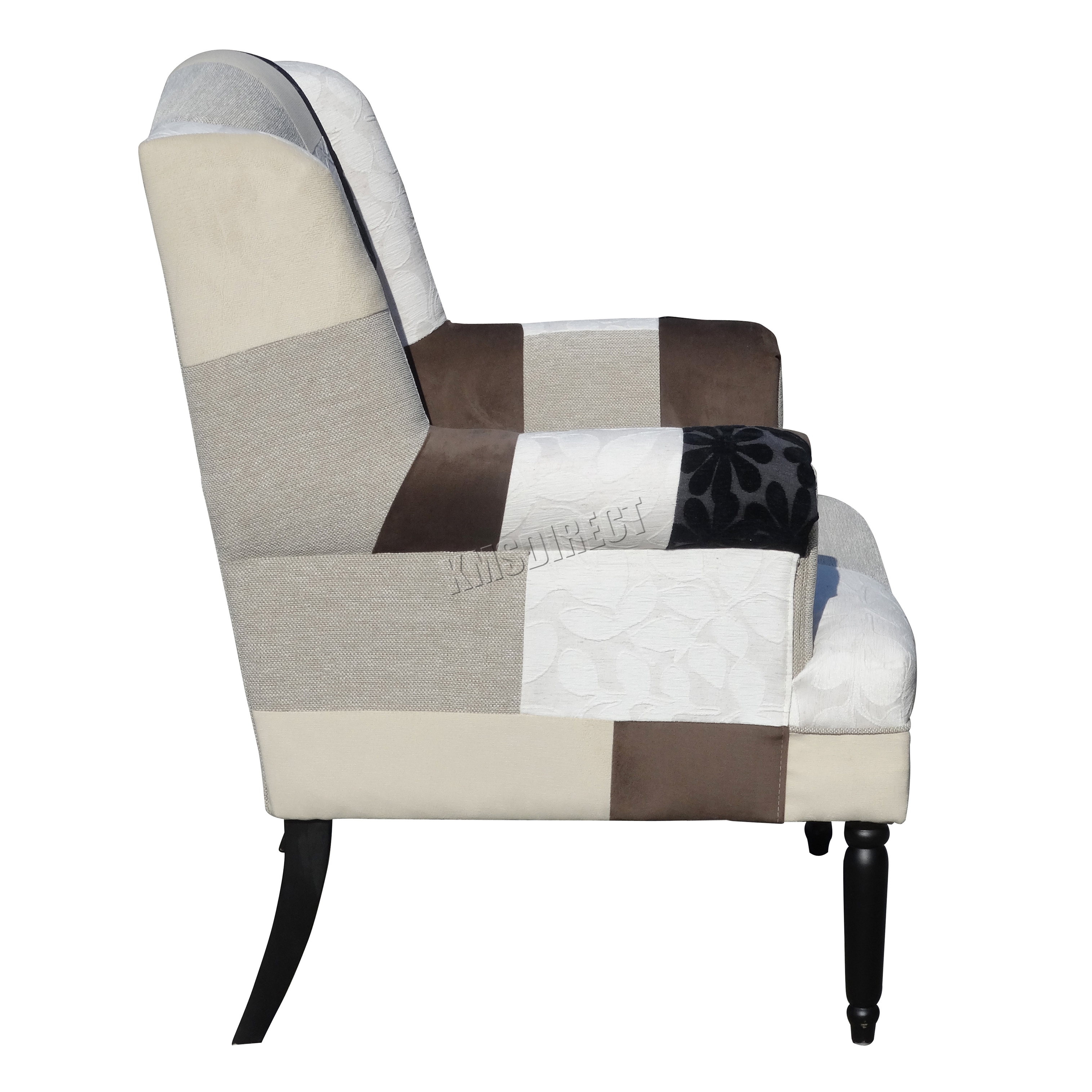 tub fabric accent chair patchwork beach chairs for big guys foxhunter vintage armchair seat