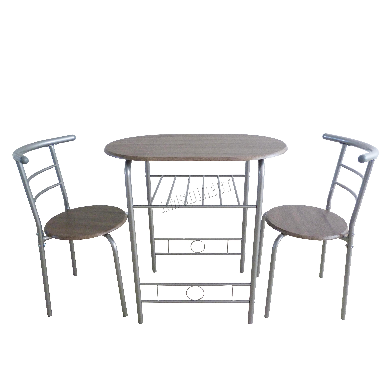 aluminum kitchen chairs home depot shelves foxhunter compact dining table breakfast bar 2 chair set