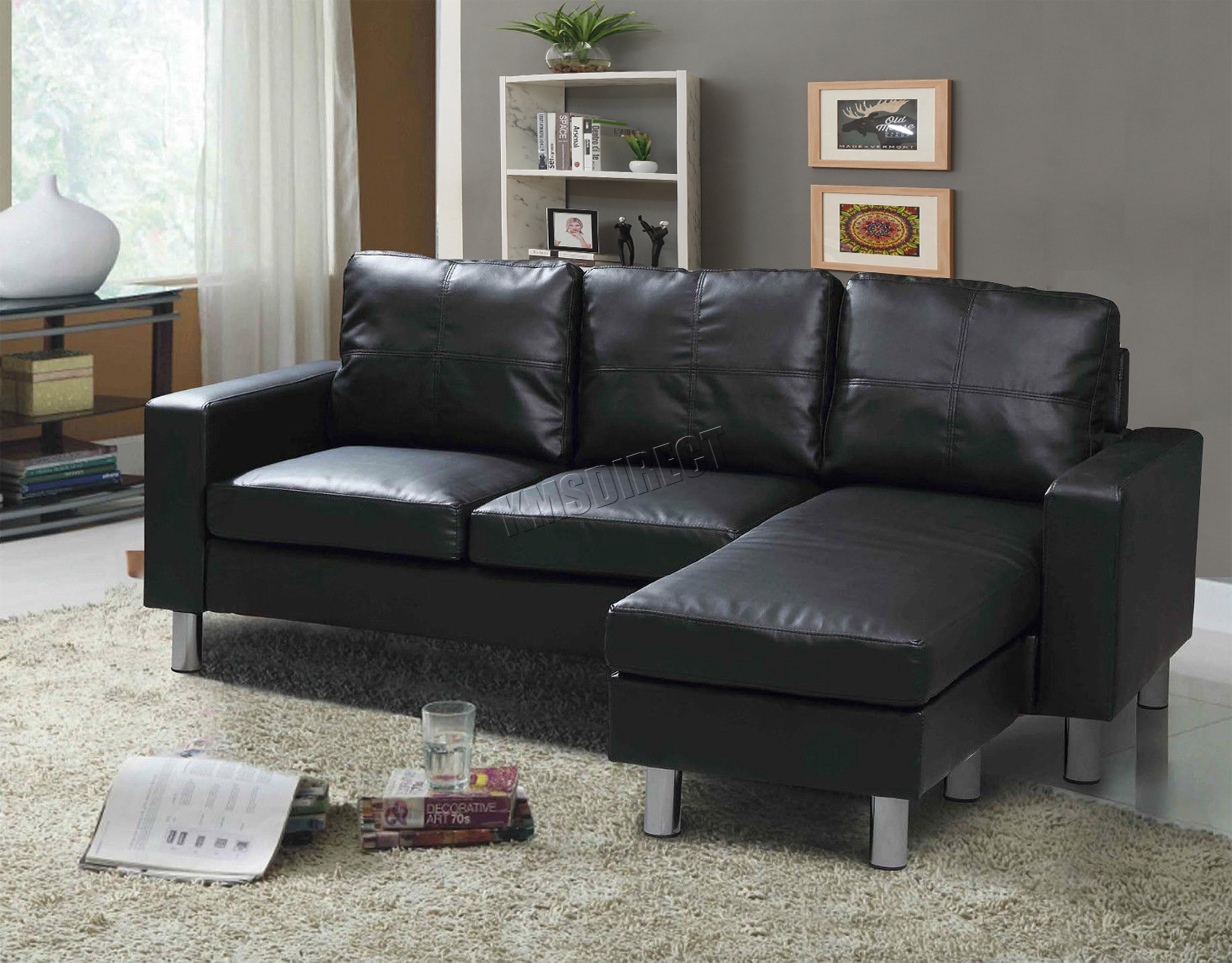 black sofa chaise longue inexpensive modern sleeper foxhunter pu l shaped corner 3 seater with