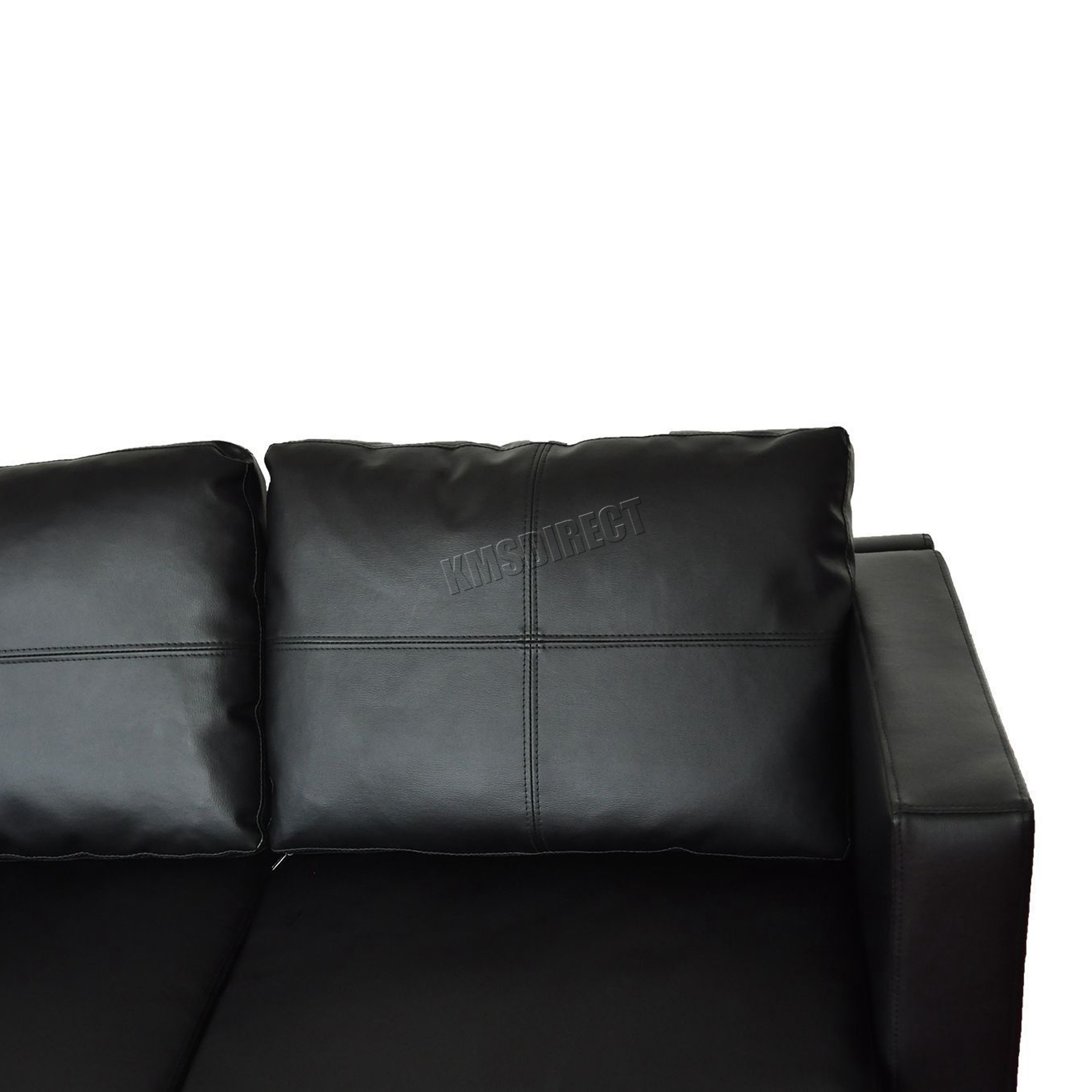 black sofa chaise longue desk for laptop foxhunter modern pu l shaped corner 3 seater with
