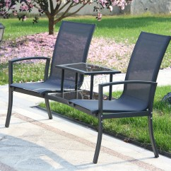 Two Seat Lawn Chairs Best Toddler Chair And Table Set Foxhunter Outdoor Garden Love Patio Duo Companion Glass Ls01 | Ebay