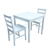 WestWood Solid Pine Wood Dining Table With 2 Chairs Set ...
