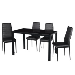 Black Dining Sets With 6 Chairs Lazy Boy Big And Tall Office Chair Staples Foxhunter Glass Table 4 Set Faux