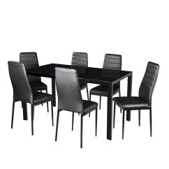 Black Dining Sets With 6 Chairs Vintage High Back Chair Foxhunter Glass Table 4 Set Faux
