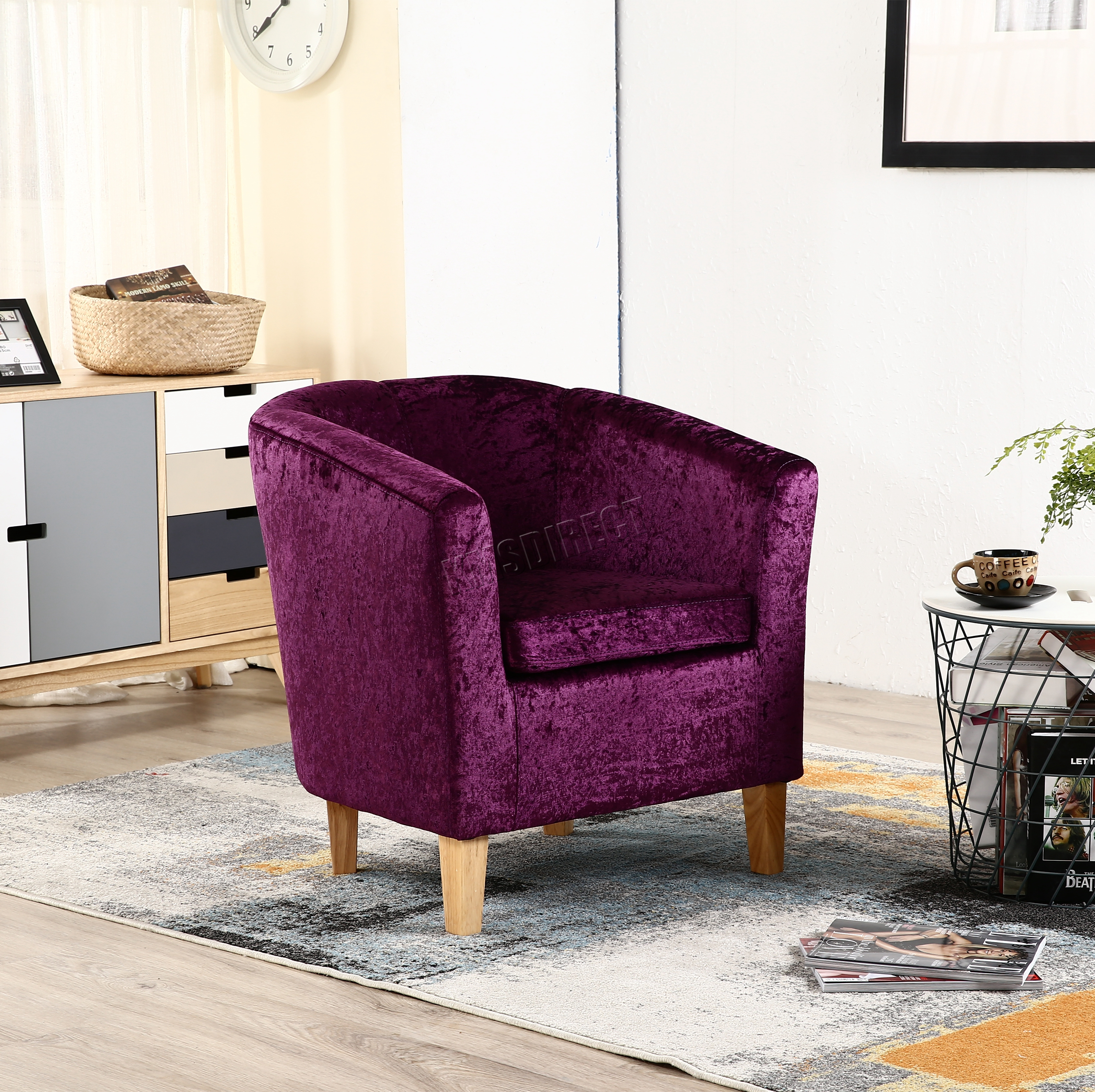 purple crushed velvet bedroom chair modern outdoor fire pit chairs foxhunter crush fabric tub armchair lounge