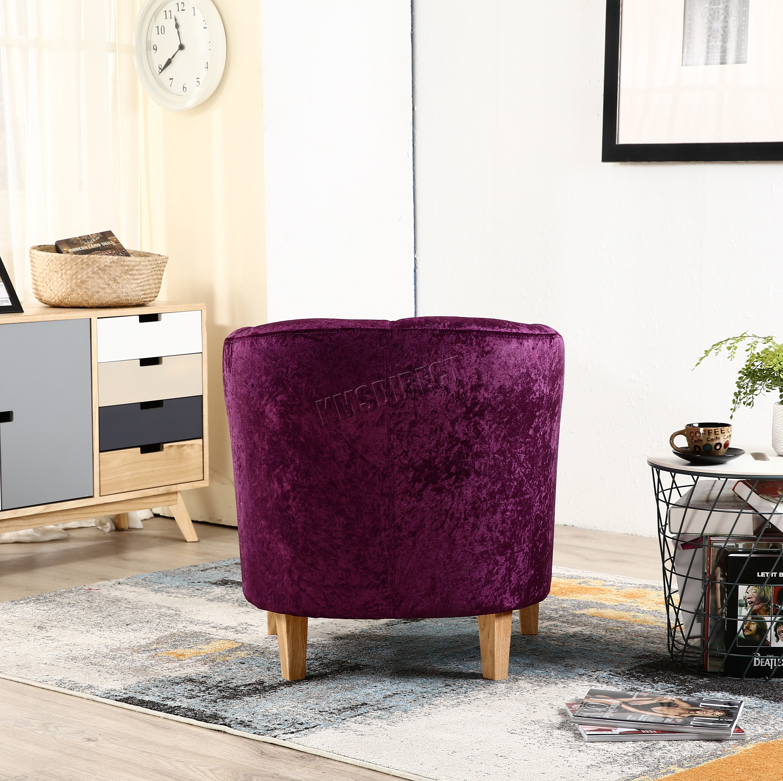purple crushed velvet bedroom chair swing mitre 10 foxhunter crush fabric tub armchair lounge