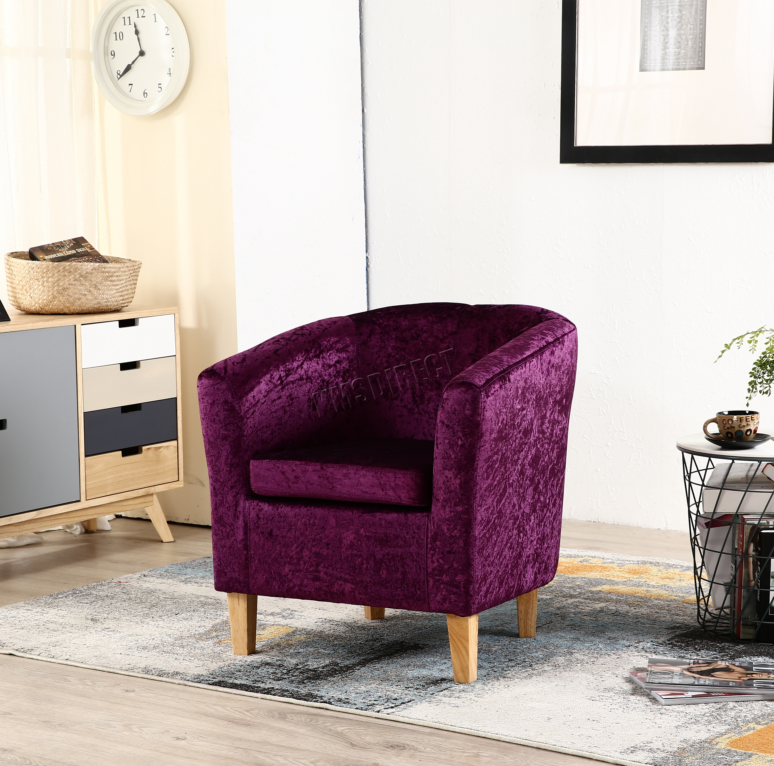 purple crushed velvet bedroom chair bistro chairs foxhunter crush fabric tub armchair lounge
