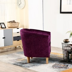 Purple Crushed Velvet Bedroom Chair Sofa Ikea Foxhunter Crush Fabric Tub Armchair Lounge