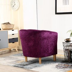 Purple Crushed Velvet Bedroom Chair Swing With Stand For Foxhunter Crush Fabric Tub Armchair Lounge