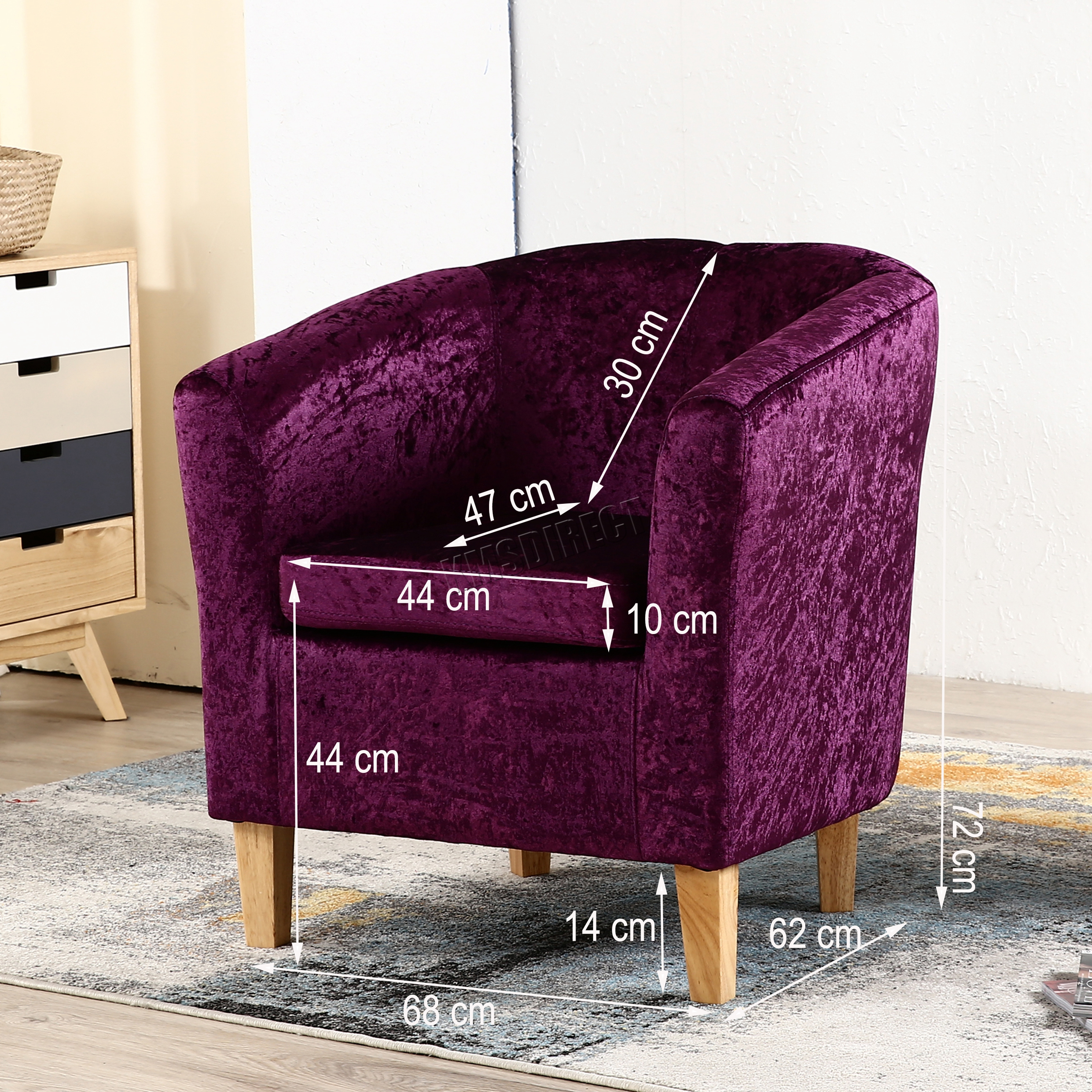 purple crushed velvet bedroom chair modern and ottoman westwood crush fabric tub armchair lounge