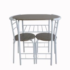 Aluminum Kitchen Chairs Portable Island Foxhunter Compact Dining Table Breakfast Bar 2 Chair Set