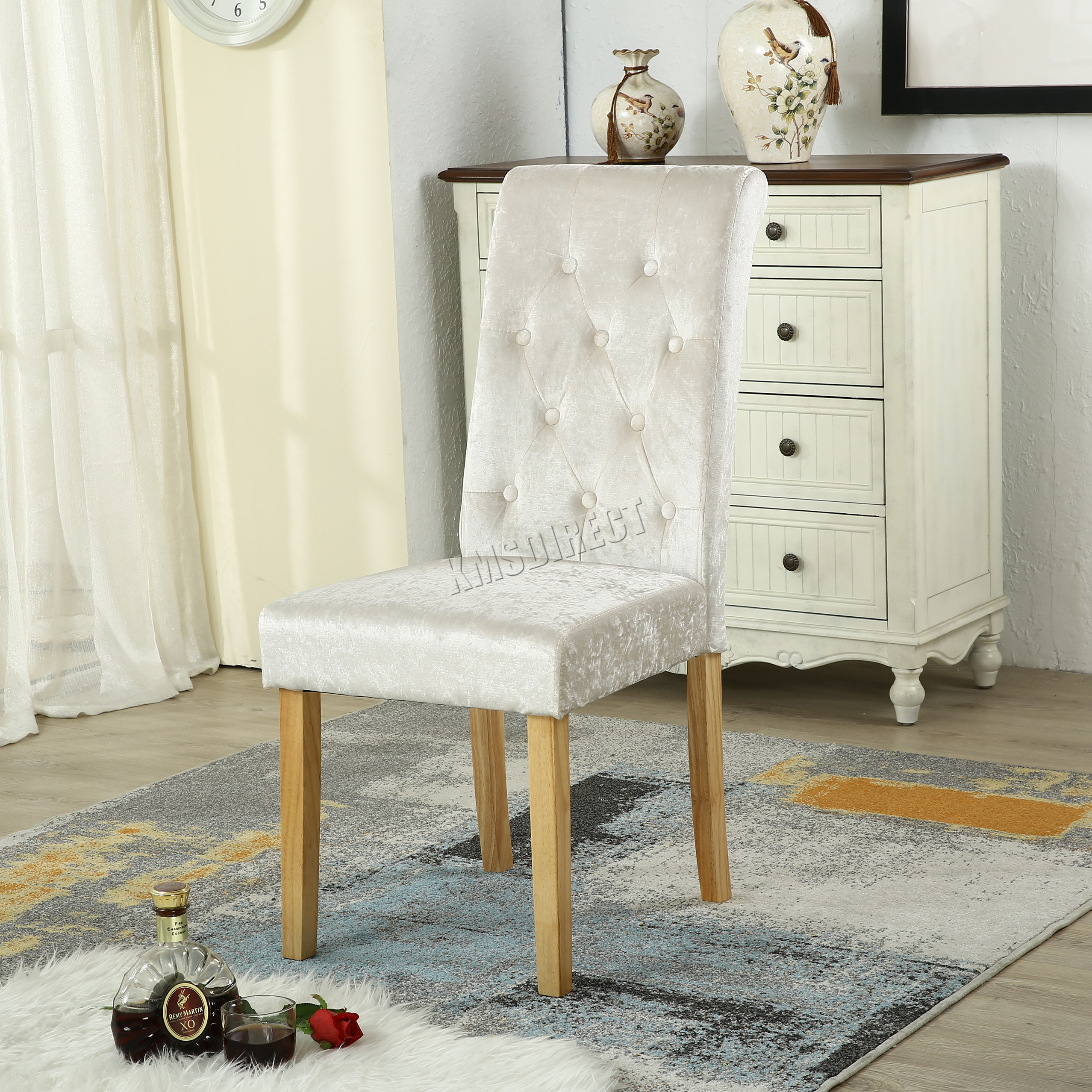 high back velvet chair uk bubble stand only westwood crush fabric dining chairs scroll