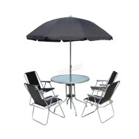 WestWood Garden Patio Table Set 4/6 Chairs With Parasol ...