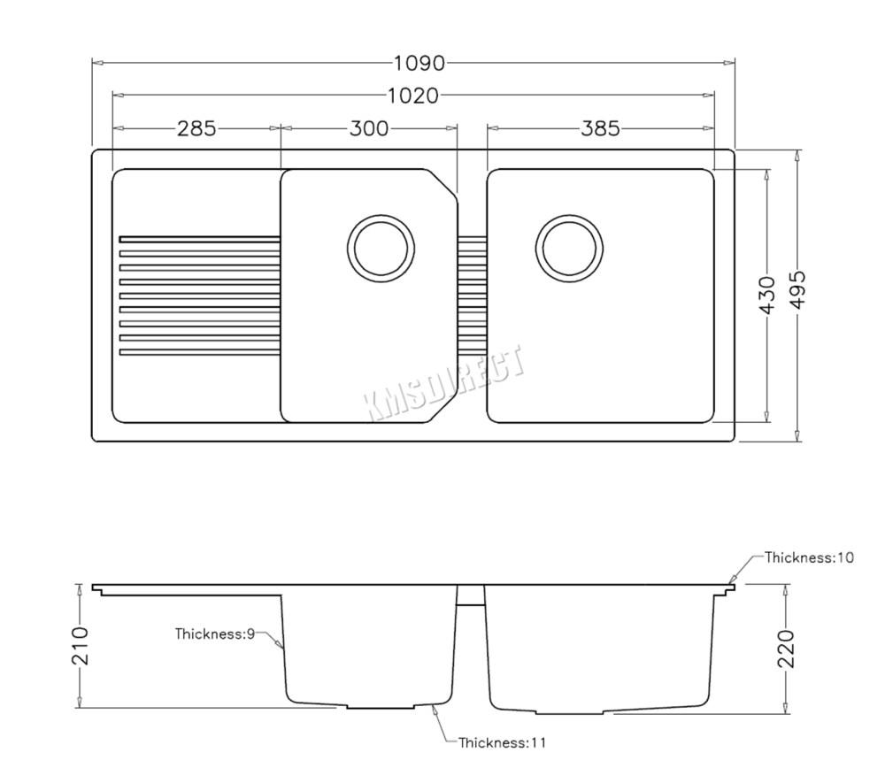 medium resolution of sentinel westwood kitchen sink 1 5 double bowl complete plumbing kit drainer waste quartz