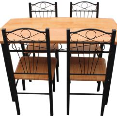 Dining Table With Metal Chairs Chair Covers Scotland New Kitchen Set Frame Wood