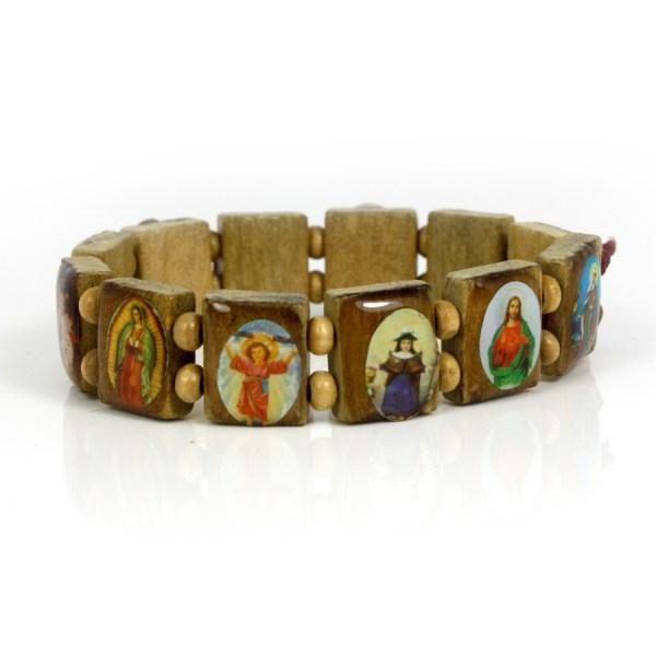 Saints Catholic Christian Jesus Wooden Wood Bracelets