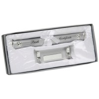 SILVER PLATED BIRTH CERTIFICATE HOLDER BABY CHRISTENING ...