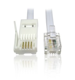 10m 33 feet rj11 rj 11 plug to bt plug 4 wire crossover data cable for 56k modem [ 950 x 950 Pixel ]