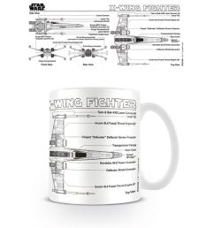 star wars x wing fighter sketch mug ceramic coffee tea cup diagram schematic [ 1000 x 1000 Pixel ]