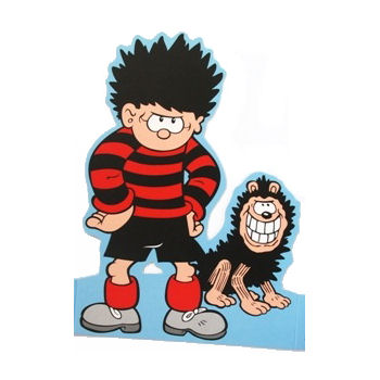 DENNIS THE MENACE & GNASHER SHAPED GREETING CARD BEANO