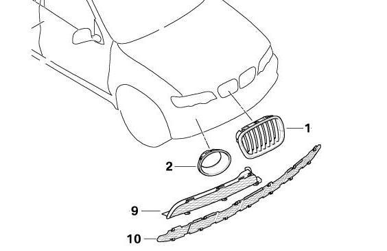 BMW Genuine Front Right Bumper Grille Panel Trim Titanium
