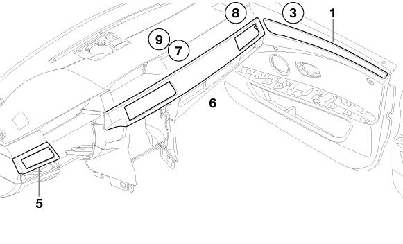 BMW Genuine Interior Door Trim Strip Front Right E60/E61 5