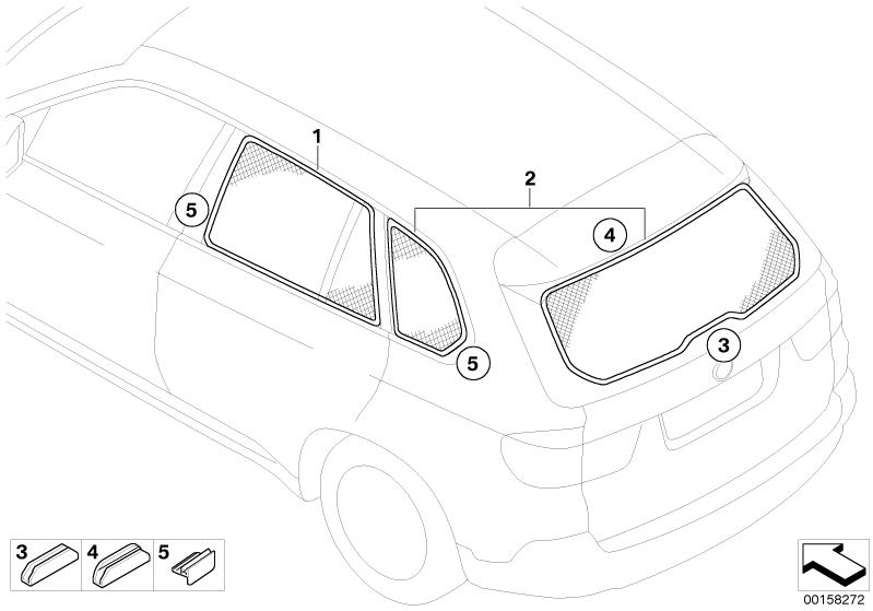 BMW Genuine Car Rear Door Window Sun Screen/Blind/Shade