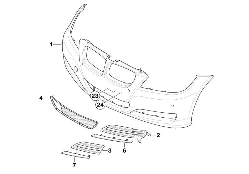 BMW Genuine Front Lower Bumper Grille Panel Trim E90/E91 3